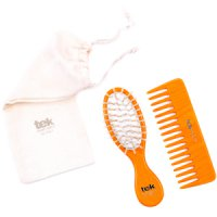 TEK Orange purse oval brush and comb with cotton bag