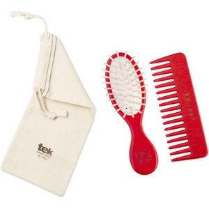 Red purse oval brush and comb